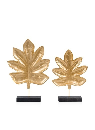 Çiçekmisin 2'li Dekoratif Gold Yaprak Altın